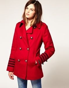 A great coat and color with a jean