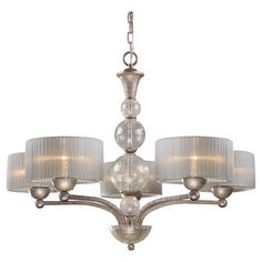 Chandelier with pleated shades and stacked orb accents.  Product: ChandelierConstruction Material: Metal, glass ...