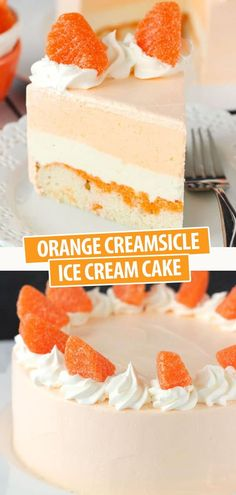 This Orange Creamsicle Ice Cream Cake is light, tangy and tastes just like an orange creamsicle! Perfect for summer! Creamsicle Cake, Orange Creamsicle, Best Cake Recipes, Dessert Recipes, Orange Ice Cream, House Rules, Eat Dessert First, Cream Cake, Yummy Cakes