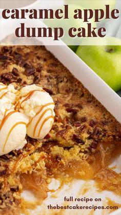 Caramel Apple Dump Cake, Apple Dump Cakes, Dump Cake Recipes, Homemade Cake Recipes, Best Cake Recipes, Apple Recipes, Caramel Apples, Dessert Recipes, Amish Recipes