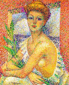 Woman Sitting with a Bouquet of Leaves, 1905, by Jean Metzinger (French, 1883-1956)