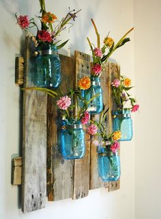 Anniversay Edition Blue Unique Large Wall Piece With Painted Mason Jars Wall Decor Kitchen Decor Bedroom Decor I D Use Different Colors And Things To Put