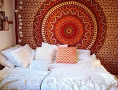 Moroccan themed bedroom:  • Large sheet pinned to the wall • White lanterns • White sheets w/ contrasting pillow