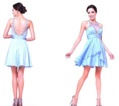 Prom Dresses Evening Dresses under $200<BR>969<BR>Illusion jewel neckline short dress with beaded ruched bodice featuring stone necklace