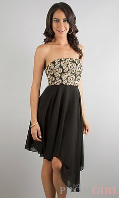 Strapless Black Hi Low Dress at PromGirl.com
