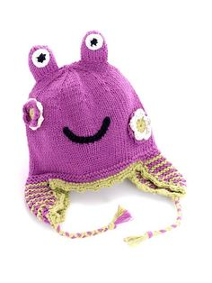 Mulberry Frog Hat $19.50 USD   -100% Cotton Yarns -Warm and fun -Hand knitted and crocheted -Meets all U.S. Consumer Product Safety regulations  -Fair trade -Country of origin:  Bangladesh