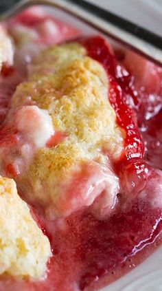 Strawberries and Cream Skillet Cobbler