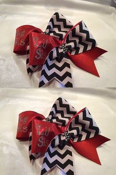 Hair Accessories 57920: Big Sis Lil Sis-Chevron And Red Cheer Bows -> BUY IT NOW ONLY: $34 on eBay!