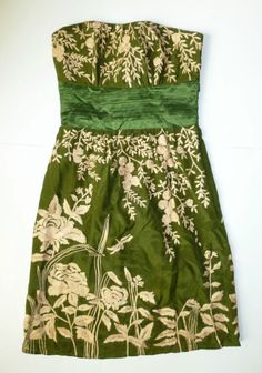 EUC Gold Floral Embroidered Green Silk Dress by Tracy Reese - SZ 4