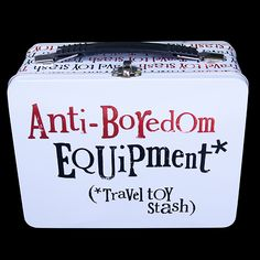 ANTI-BOREDOM TOY SUITCASE | At Home Shopping A beautiful quality metal tin with a hinged lid and embossed with The Bright Sides unique lettering. Like an oversized lunchbox, this tin features a carry handle and is perfectly proportioned to transport toys and other childhood paraphernalia! Whether you're off to the grandparents for a day or a week in the sun, you can keep all your mini-person gear safely stashed in here. £8.99