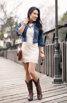 New Cowboy Boats Outfit Winter Jeans Denim Jackets Ideas Cowboy Boot Outfits, Dresses With Cowboy Boots, Winter Boots Outfits, Casual Winter Outfits, Spring Outfits, Outfit Winter, Outfit Summer, Cowgirl Boots Dress, Cowgirl Outfits For Women Dresses