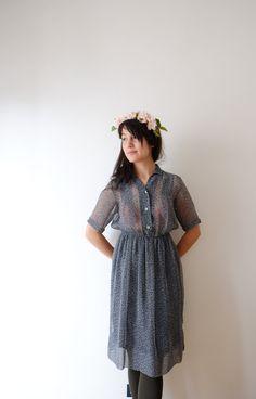 Branch print Japanese vintage dress, XS - S