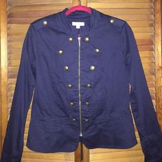 NWOT - Navy Military Style Jacket/Blazer Navy Jacket/blazer with super cute brass button detailing. Zip-up front. Never been worn. Dress Barn Jackets & Coats