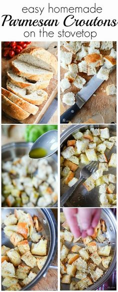 Easy Parmeson Croutons on the Stovetop by Ella Claire