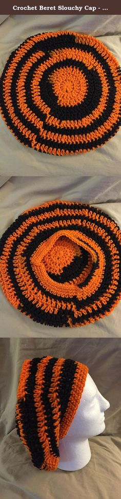 Crochet Beret Slouchy Cap - fits most teens & adults - Halloween or Team colors of orange & black - smoke free - pet free - free shipping to USA. This listing is for 1 crochet beret slouchy cap that is made from 100% acrylic yarn. Crochet slouchy cap will fit most teens & adults! Remember that a slouchy cap fits loosely and sags in the back. These are great for bad hair days, general wear or great for Chemo patients! CUTE AS CAN BE FOR ANY SEASON OR JUST TO WEAR TO HAVE FUN! Think about…