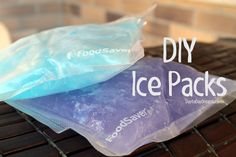 DIY Ice Packs   I was mindlessly surfing Pinterest,  (if you aren't aware of what that is, message me - I'll invite you) and I discovered homemade ice packs. I visited a couple different websites to research the various concoctions and the following is what I did to create flexible, almost frozen ice packs. These would be perfect for an injury or a cooler :)   From: daytodaydreams.com