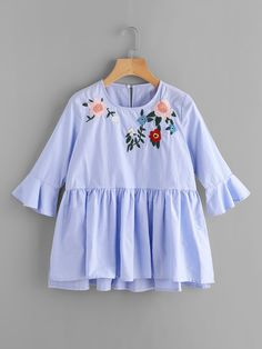Shop Embroidery Frill Cuff Smock Blouse online. SheIn offers Embroidery Frill Cuff Smock Blouse & more to fit your fashionable needs.