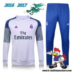La Liga : Survetement Foot Real Madrid Blanc + Pantalon Bleu 2016 2017 - Homme Kits Pas Chere