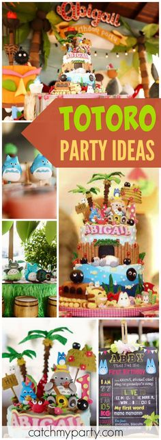 Here's an incredible Totoro birthday party with a Hawaiian theme! See more party ideas at Catchmyparty.com!