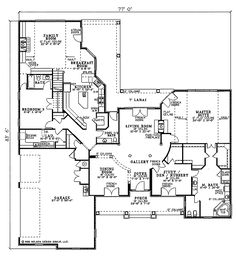 Southern Style House Plan - 4 Beds 3.5 Baths 4243 Sq/Ft Plan #17-230 Floor Plan - Main Floor Plan - Houseplans.com - https://www.houseplans.com/plan/4243-square-feet-4-bedrooms-3-5-bathroom-traditional-house-plans-3-garage-546