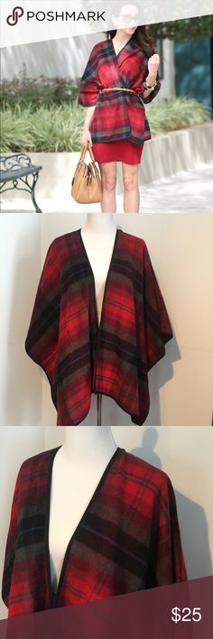Old Navy Plaid Poncho Red M/L Note: does not have a fabric content tag I don't know why I must have removed it but feels like a polyester material. Size M/ L cute plaid poncho wrap. Worn maybe 2x. Old Navy Jackets & Coats