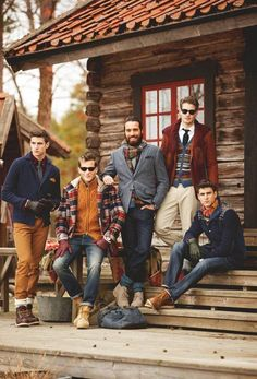 Practical, earthy, colour, patterns, textures, jackets, sweaters, boots, hairstyles, facial hair, sunglasses... these guys know what's up. Wicked lodge too.