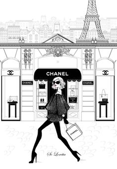 Two of two Chanel store front print. I call this piece A Chanel girl in Paris. Inspired by the Chanel 31 rue cambon store in Paris! As much fun as it Megan Hess Illustration, Illustration Mode, Fashion Prints, Fashion Art, Girl Fashion, Fashion Design, Runway Fashion, Vogue Fashion, Fashion Kids