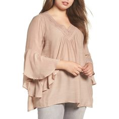 Plus Size Women's Bobeau Bell Sleeve Peasant Blouse ($59) ❤ liked on Polyvore featuring plus size women's fashion, plus size clothing, plus size tops, plus size blouses, plus size, taupe, vintage peasant blouse, womens plus tops, pink plus size tops and vintage blouses