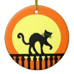 Black Cat Green eyes on Fence Yellow Moon Orange Ceramic Ornament #halloween #happyhalloween #halloweenparty #halloweenmakeup #halloweencostume