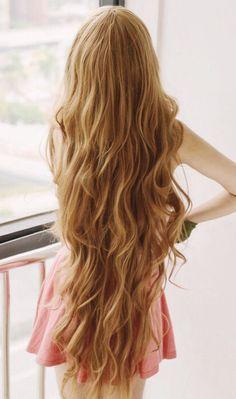 Really long wavy brown hair