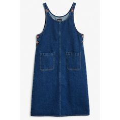 Denim dungaree dress ($39) ❤ liked on Polyvore featuring dresses, denim dungaree dress, denim dungaree, blue dress, round neck dress and monki
