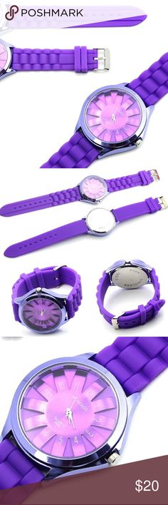 """Jelly/Silicone Quartz Sports Style, Watch Silicone Quartz Sports Style Watch, in A Deep Purple Color.                                                                                          8 Hole Adjustable.                                                                               Watch band material: Silicon Case material: Stainless Steel Total length: 24cm/9.44""""(approx) Fit Wrist: 17-22cm/6.69""""-8.66""""(approx) Belt Width: 2.0cm/0.78""""(approx) Watch Face Size: 4 x 4cm/1.57""""x1.57""""(approx)…"""