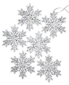 Holiday Lane Christmas Ornaments, Set of 6 Silver Sequined Snowflakes - Christmas Ornaments - Holiday Lane - Macy's