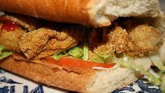 Gulf Coast Favorites: Deep South Dish: How to Construct an Oyster Po'Boy, Mississippi Style. Fresh Gulf oysters, dredge in cornmeal, fried deep and crisp and piled high on po'boy bread, dressed and pressed. They have the BEST recipes at Deep South Dish!