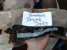 Homemade steak jerky.   Marinate THIN steak for 2-3 days in favorite seasonings.  Heat oven to 300 degrees.   Place steak on tin foil and bake for 3 hours.   1 with oven shut, 2 with oven opened slightly.   Meat will look burnt, but it's just dried and tasty!
