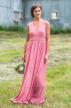 Long Sheer Classy Pink Bridesmaid Dress for Country Wedding