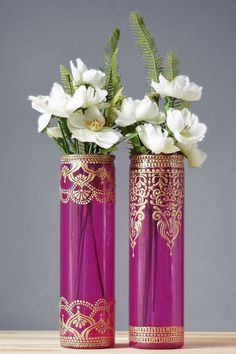 Vases peints au henné peint mariage Vase chaud de par LITdecor