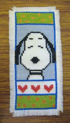 Cross-stitch Snoopy bookmark.. no color chart, just use pattern chart colors as your guide.. or choose your own colors.