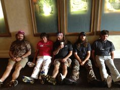 """Jason Dufner teaches a group the art of """"Dufnering""""- Bubba Watson- far right."""