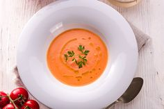Rustic tomato soup by Darius Dzinnik Crema Fresca, Tomato Soup, Tofu, Thai Red Curry, Fruit, Ketchup, Ethnic Recipes, Rustic, Roasted Chicken Breast
