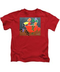 Patrick Francis Designer Kids Red T-Shirt featuring the painting Bowl Of Fruit by Patrick Francis