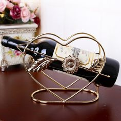 Wedding Creative Wine Rack Holder Vinho Wine Bottle Shelf Rejilla Para Copas Kitchen Craft Accessories Decoration heart-shaped