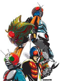 kamen rider poster by seanlon on DeviantArt Robot Cartoon, Japanese Superheroes, Kamen Rider Series, Mecha Anime, Superhero Design, Super Robot, Cultura Pop, Showa Era, Power Rangers