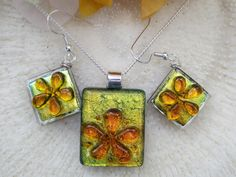 orange and yellow dichroic fused glass Flower Earrings