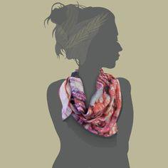 mental / red / 108 x 108  silk cotton, scarf