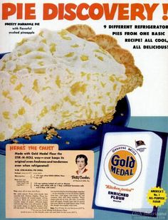 Vintage frosty pineapple pie recipe Make stir-n-roll pie shell. Bring to a boil cups crushed pineapple. Stir in until dissolved 1 pkg. Retro Recipes, Vintage Recipes, Vintage Food, Cheap Recipes, Vintage Cooking, Vintage Ads, Grandma's Recipes, Retro Food, Potluck Recipes