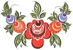 Folk Gorodets painting from Russia. A floral pattern. #art #folk #painting…