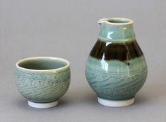 Wheel-thrown Porcelain Celadon Sake Bottle and Cup Chattering Decoration by Hsinchuen Lin