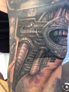 Giger sleeve Hr Giger Tattoo, Sleeve Tattoos, Inspired, Top, Collection, Tattoo Sleeves, Arm Tattoo, Crop Shirt, Arm Tattoos