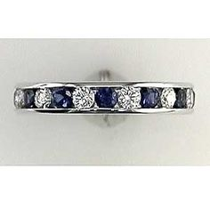 Sapphires and diamonds in a channel set 14kt white gold eternity band.    DELICIOUS!